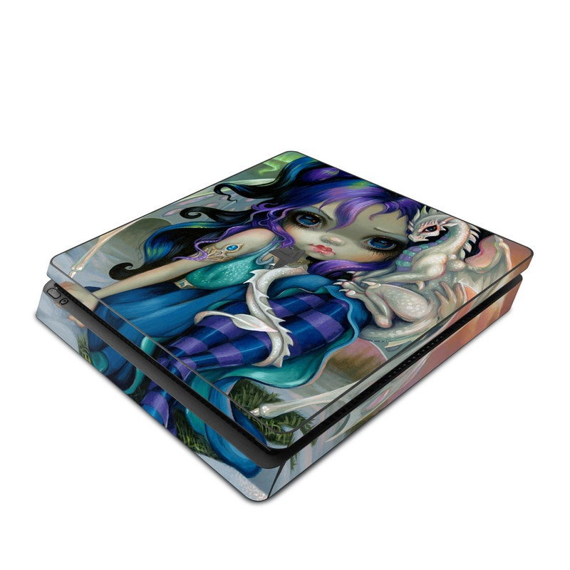 PlayStation 4 Slim Skin design of Illustration, Fictional character, Cg artwork, Art, Mythology, Anime, Mythical creature with green, blue, purple, yellow, red, white colors