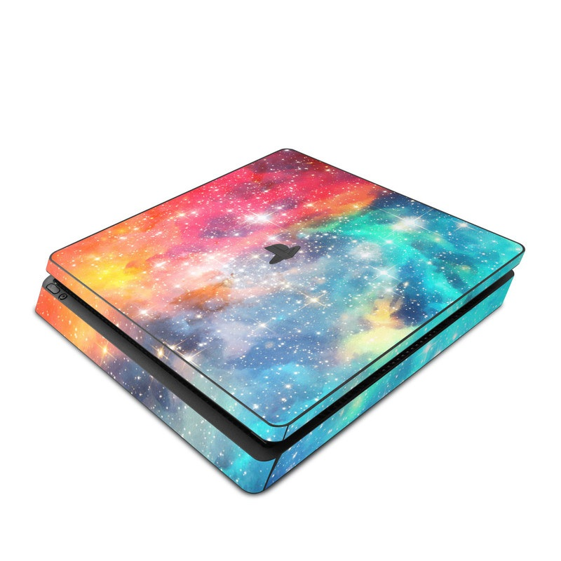 PlayStation 4 Slim Skin design of Nebula, Sky, Astronomical object, Outer space, Atmosphere, Universe, Space, Galaxy, Celestial event, Star with white, black, red, orange, yellow, blue colors