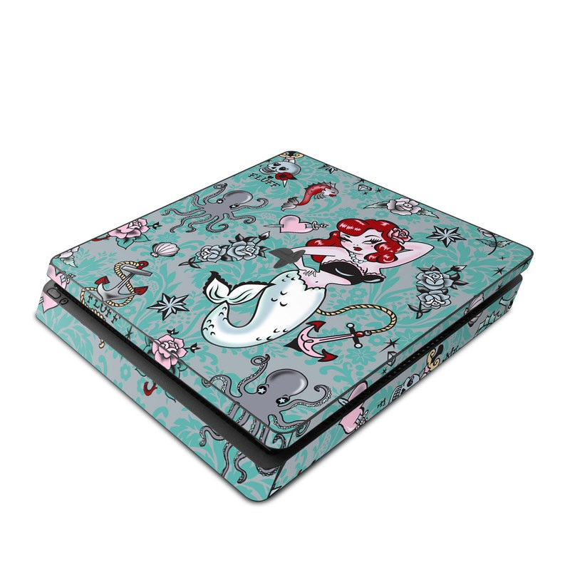 PlayStation 4 Slim Skin design of Mermaid, Illustration, Fictional character, Organism, Art, Pattern, Style with gray, blue, black, red, white, pink colors