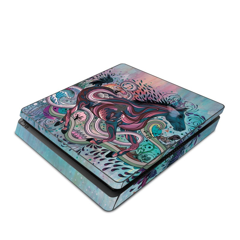 PlayStation 4 Slim Skin design of Illustration, Art, Visual arts, Graphic design, Fictional character, Psychedelic art, Pattern, Drawing, Painting, Mythology with gray, black, blue, red, purple colors
