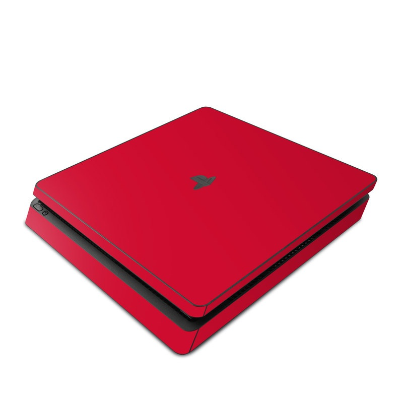 PlayStation 4 Slim Skin design of Red, Pink, Maroon, Purple, Orange, Violet, Magenta, Material property, Font, Peach with red colors