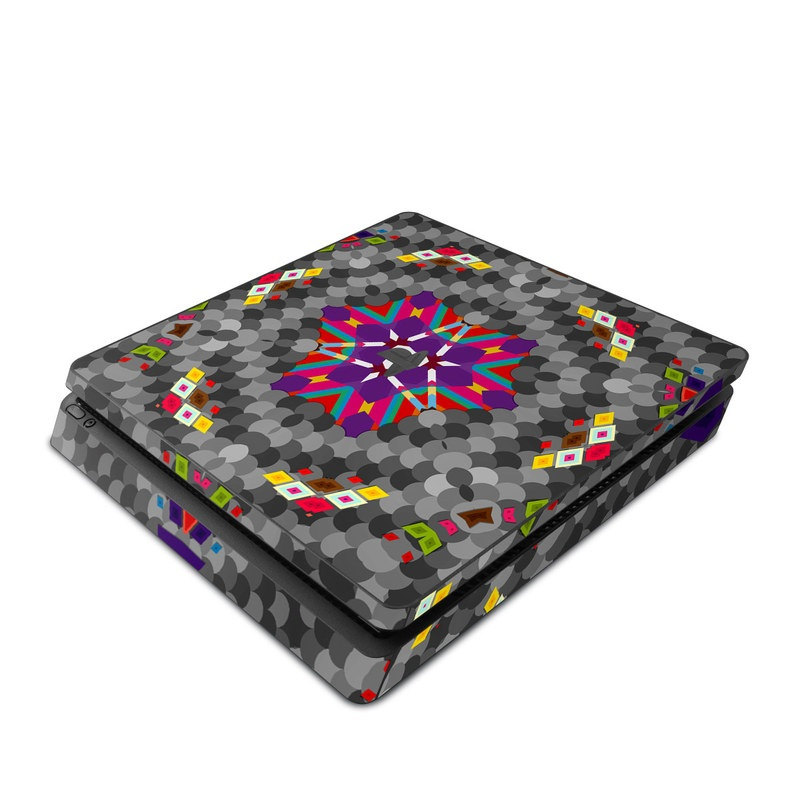 PlayStation 4 Slim Skin design of Pattern, Symmetry, Psychedelic art, Design, Visual arts, Kaleidoscope, Textile, Art, Fractal art with gray, red, yellow, purple, blue, white colors
