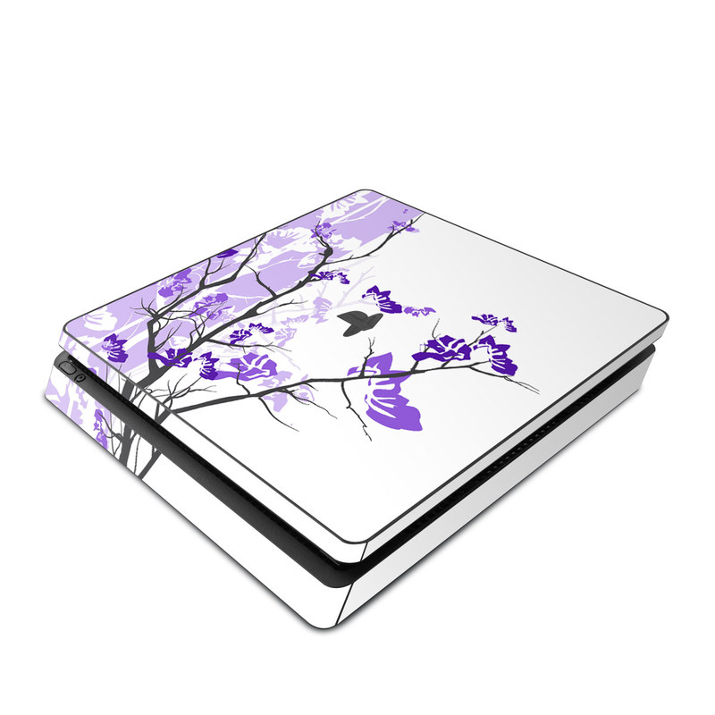 PlayStation 4 Slim Skin design of Branch, Purple, Violet, Lilac, Lavender, Plant, Twig, Flower, Tree, Wildflower with white, purple, gray, pink, black colors