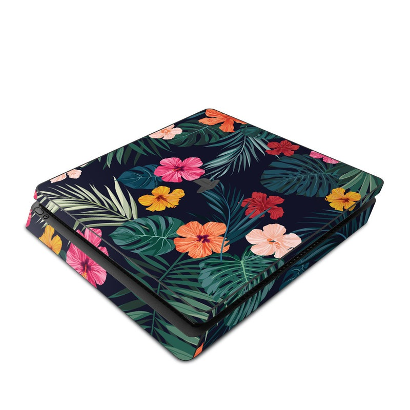 PlayStation 4 Slim Skin design of Hawaiian hibiscus, Flower, Pattern, Plant, Leaf, Floral design, Botany, Design, Hibiscus, Petal with black, green, red, pink, orange, yellow, white colors