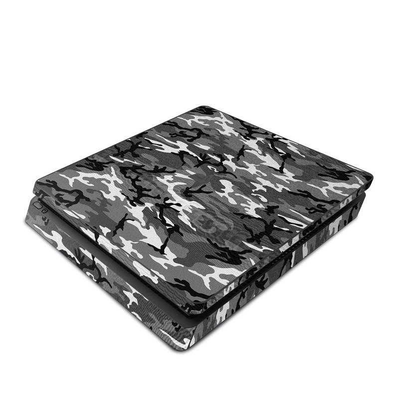 PlayStation 4 Slim Skin design of Military camouflage, Pattern, Clothing, Camouflage, Uniform, Design, Textile with black, gray colors
