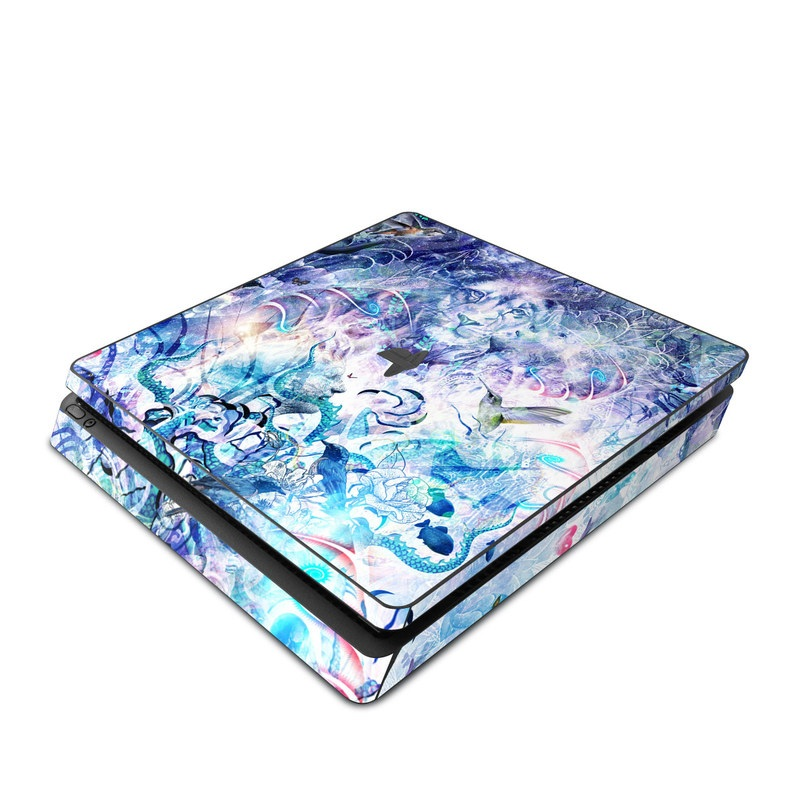 PlayStation 4 Slim Skin design of Psychedelic art, Water, Fractal art, Art, Pattern, Graphic design, Design, Illustration, Electric blue, Visual arts with blue, purple, green, red, gray, white colors