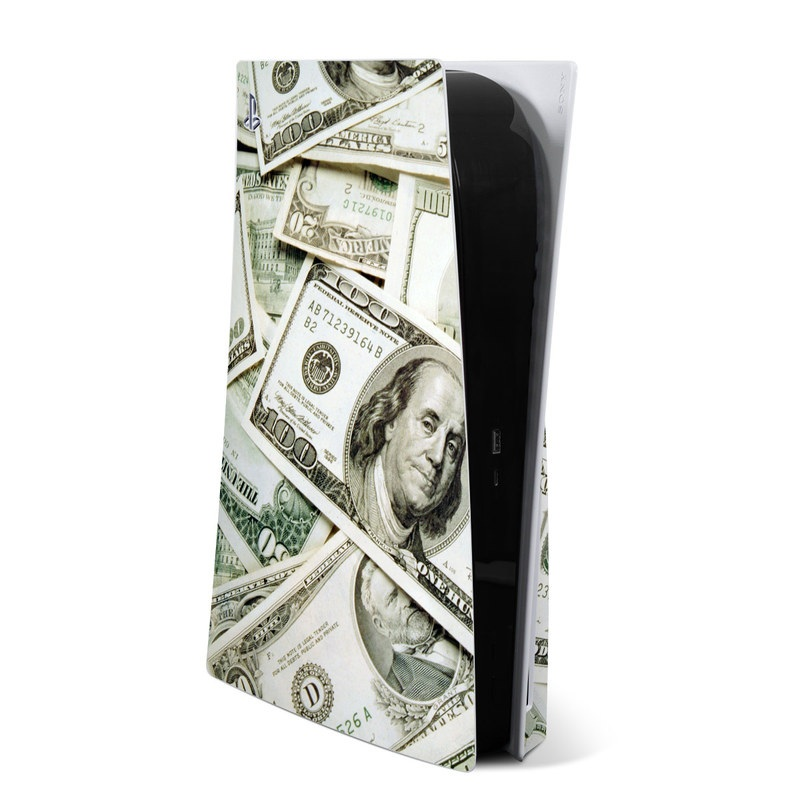 PlayStation 5 Skin design of Money, Cash, Currency, Banknote, Dollar, Saving, Money handling, Paper, Stock photography, Paper product with green, white, black, gray colors