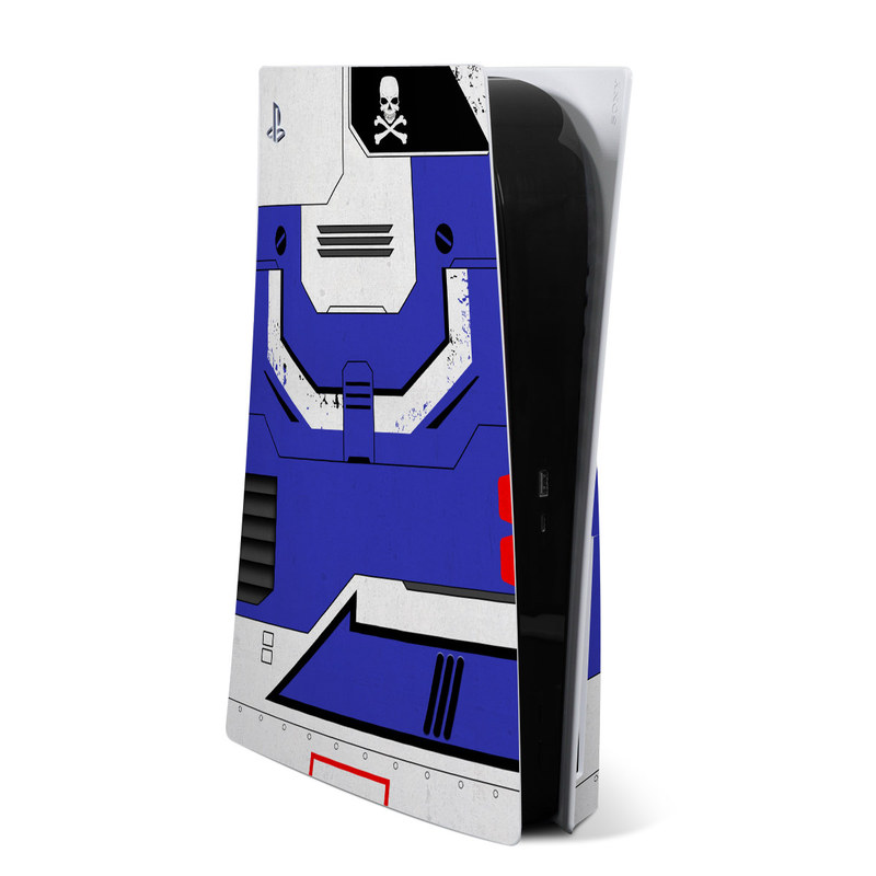 PlayStation 5 Skin design of Floppy disk, Technology, Electric blue, Fictional character with white, blue, black, gray colors