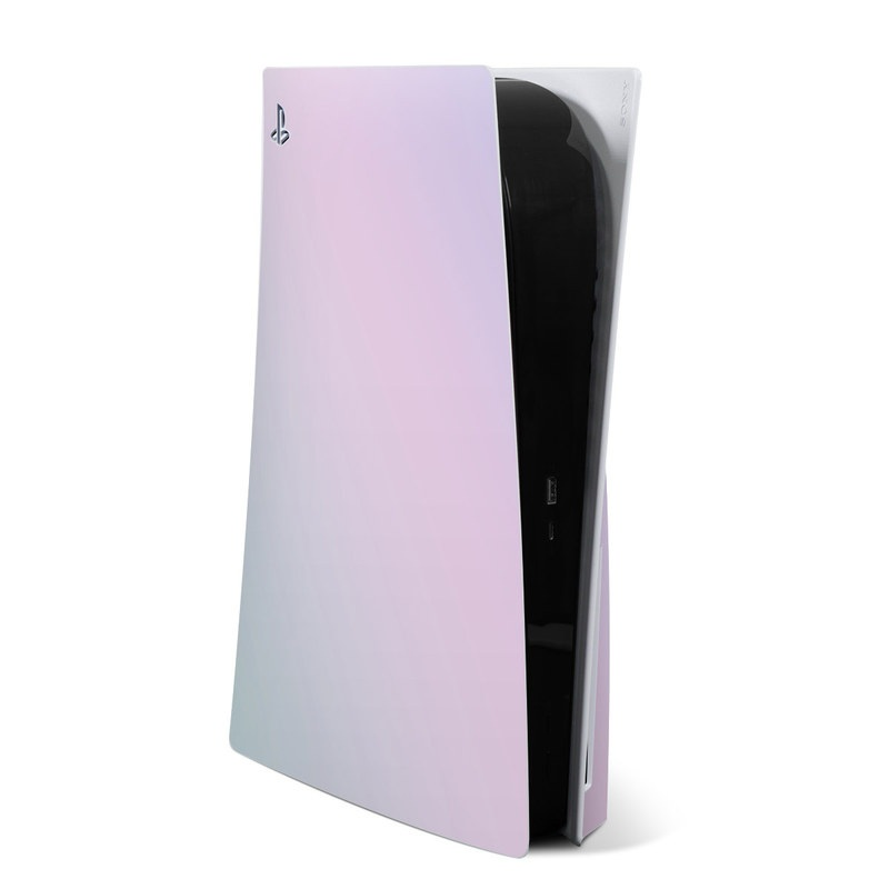PlayStation 5 Skin design of White, Blue, Daytime, Sky, Atmospheric phenomenon, Atmosphere, Calm, Line, Haze, Fog with pink, purple, blue colors