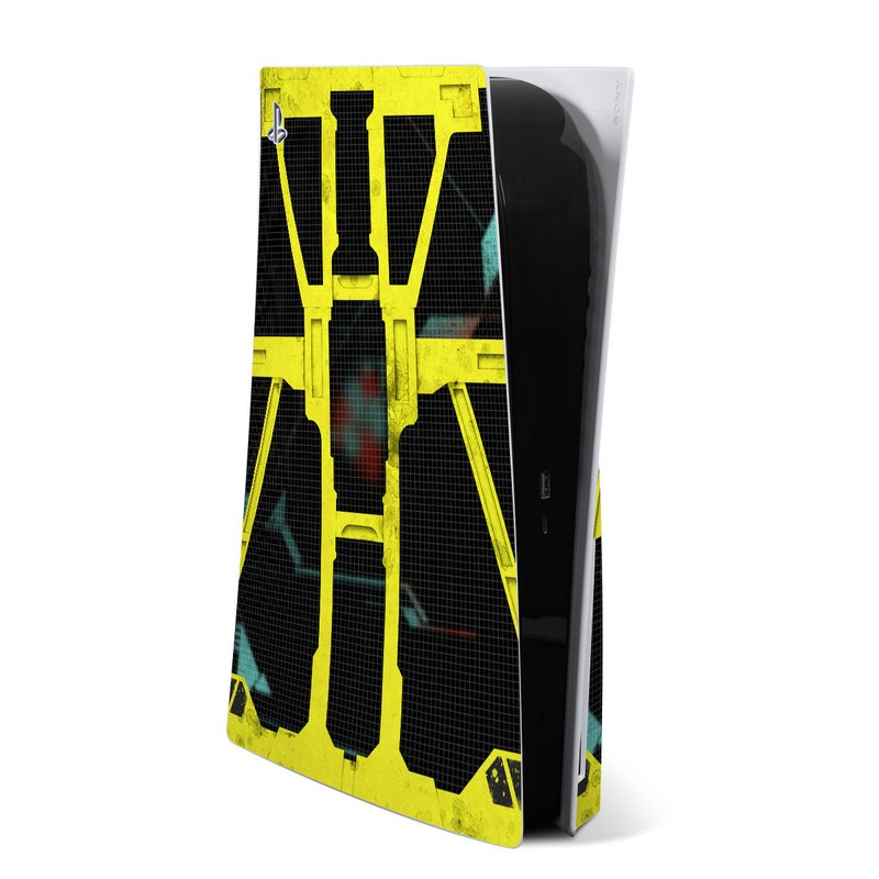 PlayStation 5 Skin design of Yellow, Green, Font, Pattern, Graphic design with black, yellow, gray, blue, green colors