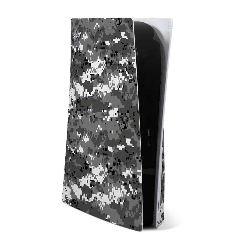 PlayStation 5 Skin design of Military camouflage, Pattern, Camouflage, Design, Uniform, Metal, Black-and-white with black, gray colors