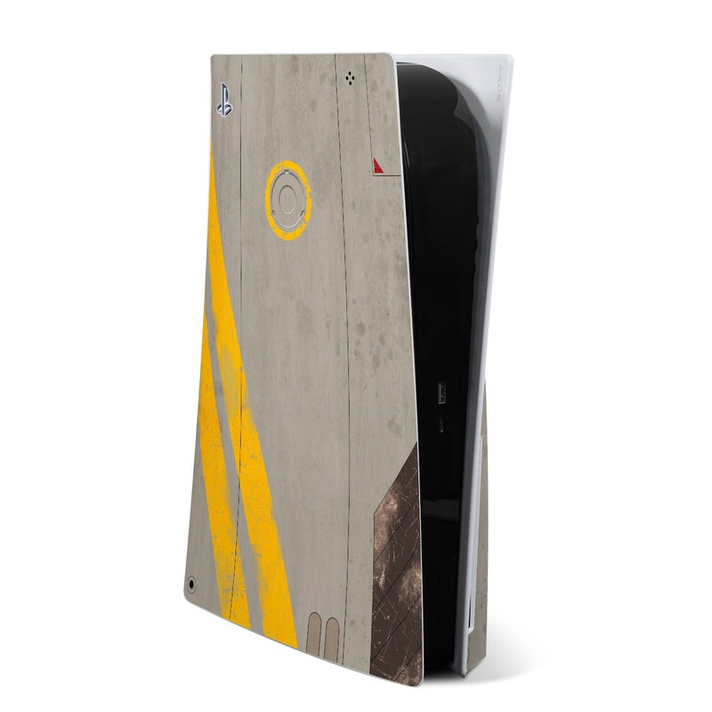 PlayStation 5 Skin design of Yellow, Wall, Line, Orange, Design, Concrete, Font, Architecture, Parallel, Wood with gray, yellow, red, black colors