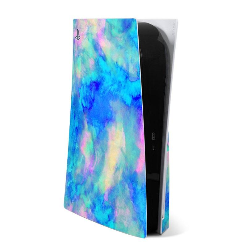 PlayStation 5 Skin design of Blue, Turquoise, Aqua, Pattern, Dye, Design, Sky, Electric blue, Art, Watercolor paint with blue, purple colors