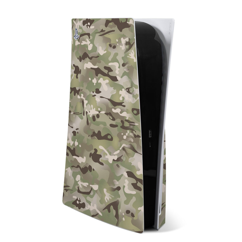 PlayStation 5 Skin design of Military camouflage, Camouflage, Pattern, Clothing, Uniform, Design, Military uniform, Bed sheet with gray, green, black, red colors