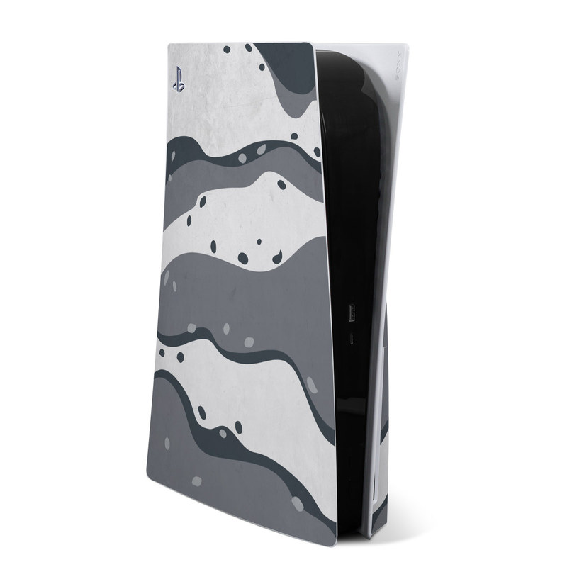 PlayStation 5 Skin design of White, Pattern, Water, Design, Illustration, Black-and-white, Metal, Drawing, Style with black, white, gray colors