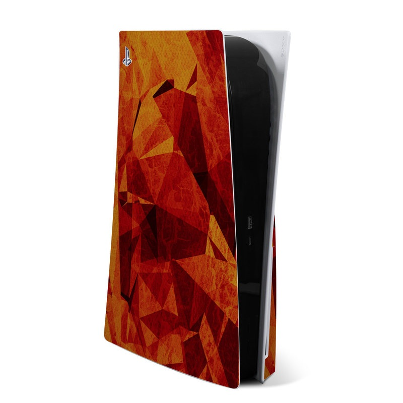 PlayStation 5 Skin design of Orange, Red, Yellow, Triangle, Pattern, Amber, Design, Art, Visual arts, Modern art with black, orange, yellow colors