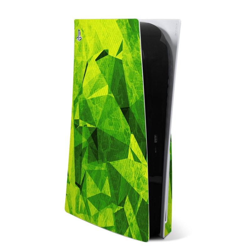 PlayStation 5 Skin design of Green, Pattern, Leaf, Design, Illustration with green colors