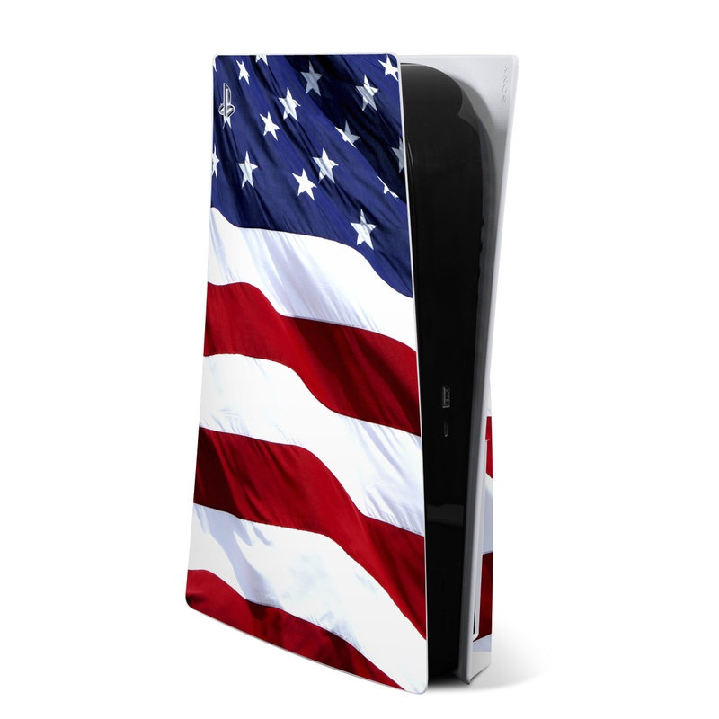 PlayStation 5 Skin design of Flag, Flag of the united states, Flag Day (USA), Veterans day, Memorial day, Holiday, Independence day, Event with red, blue, white colors