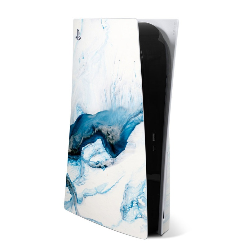PlayStation 5 Skin design of Glacial landform, Blue, Water, Glacier, Sky, Arctic, Ice cap, Watercolor paint, Drawing, Art with white, blue, black colors