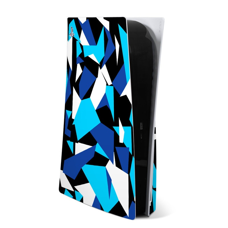 PlayStation 5 Skin design of Blue, Pattern, Turquoise, Cobalt blue, Teal, Design, Electric blue, Graphic design, Triangle, Font with blue, white, black colors