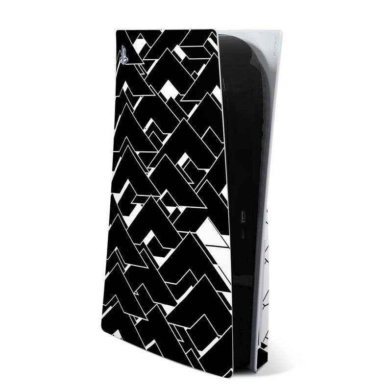 PlayStation 5 Skin design of Pattern, Black, Black-and-white, Monochrome, Monochrome photography, Line, Design, Parallel, Font with black, white colors