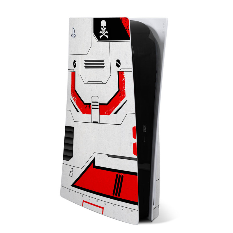 PlayStation 5 Skin design of Floppy disk, Technology, Electric red, Fictional character with white, red, black, gray colors