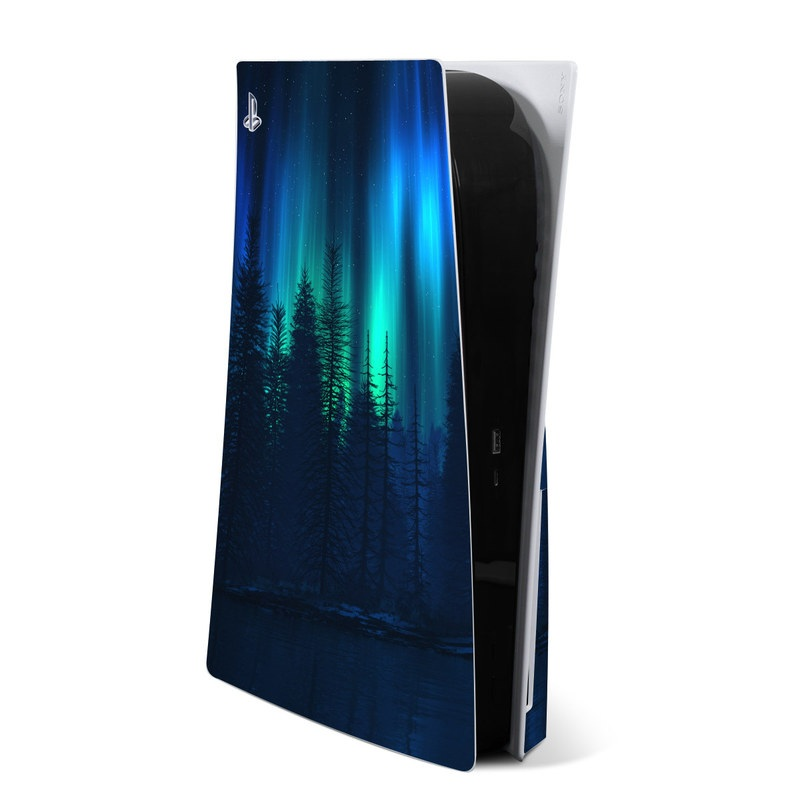 PlayStation 5 Skin design of Blue, Light, Natural environment, Tree, Sky, Forest, Darkness, Aurora, Night, Electric blue with black, blue colors