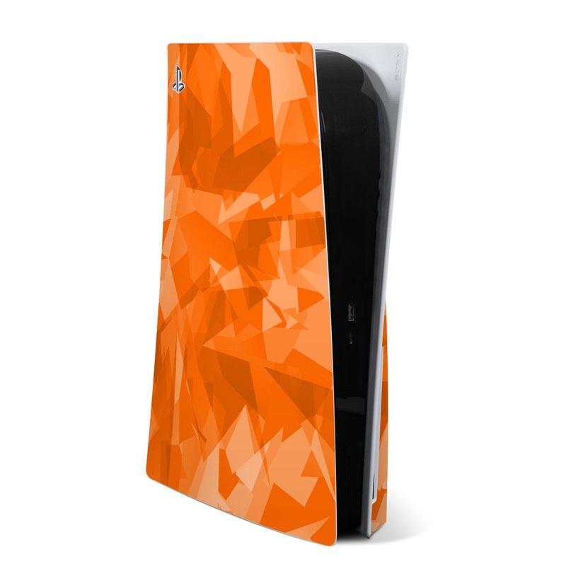 PlayStation 5 Skin design of Orange, Pattern, Peach, Line, Design, Triangle with orange colors
