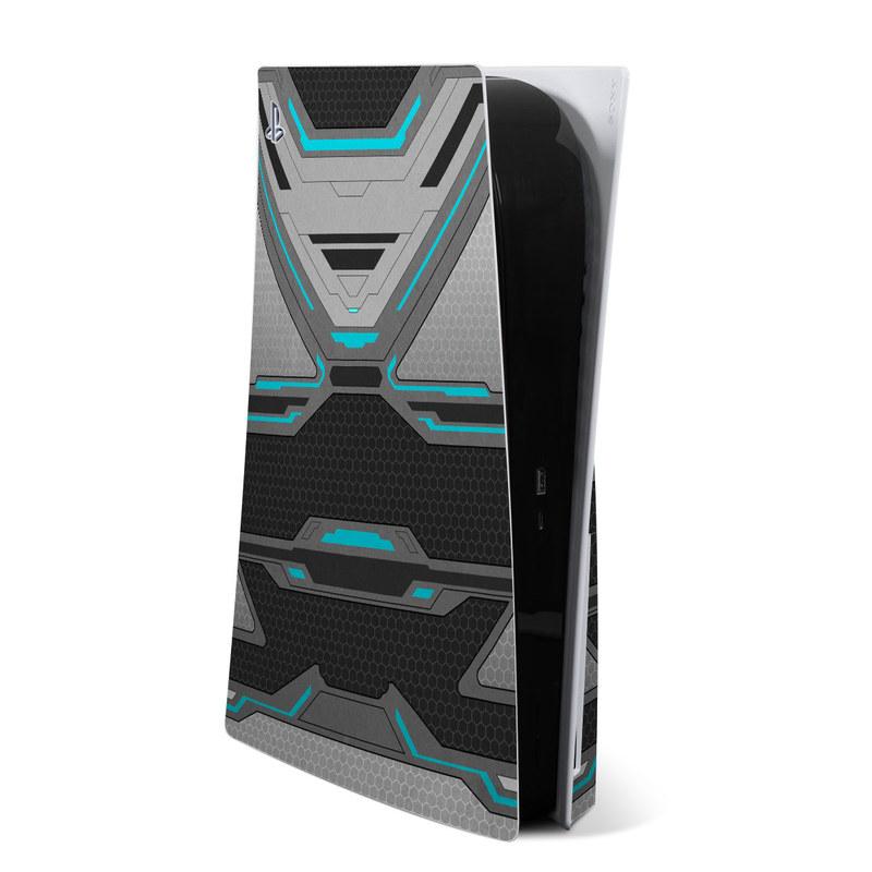 PlayStation 5 Skin design of Blue, Turquoise, Pattern, Teal, Symmetry, Design, Line, Automotive design, Font with black, gray, blue colors