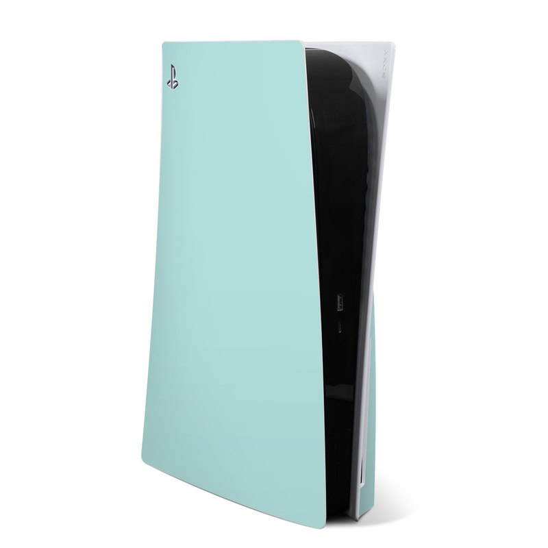 PlayStation 5 Skin design of Green, Blue, Aqua, Turquoise, Teal, Azure, Text, Daytime, Yellow, Sky with blue colors
