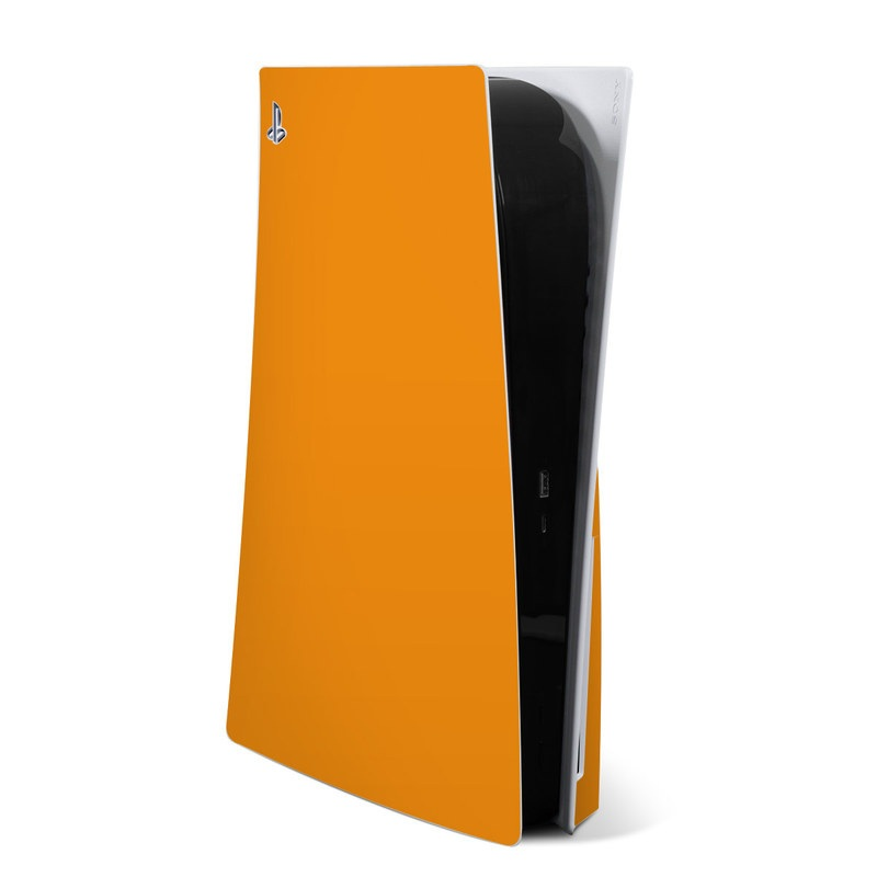 PlayStation 5 Skin design of Orange, Yellow, Brown, Text, Amber, Font, Peach with orange colors