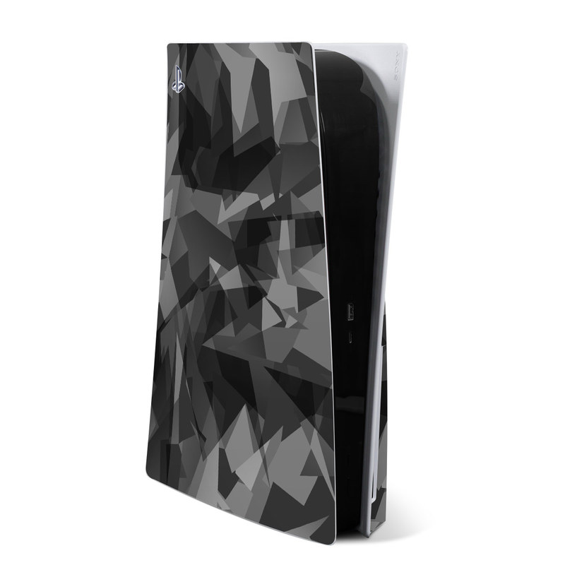 PlayStation 5 Skin design of Black, Pattern, Triangle, Black-and-white, Monochrome, Grey, Design, Line, Architecture, Monochrome photography with black, gray colors