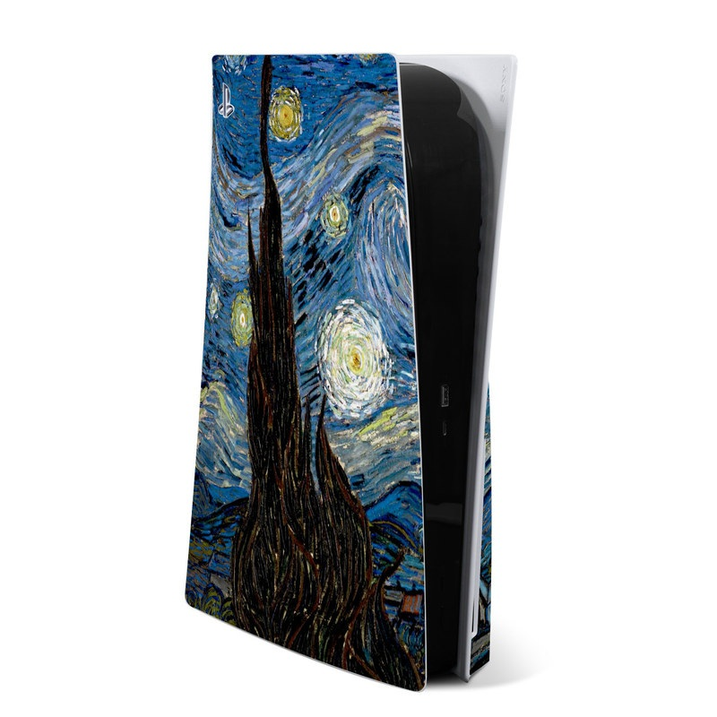 PlayStation 5 Skin design of Painting, Purple, Art, Tree, Illustration, Organism, Watercolor paint, Space, Modern art, Plant with gray, black, blue, green colors