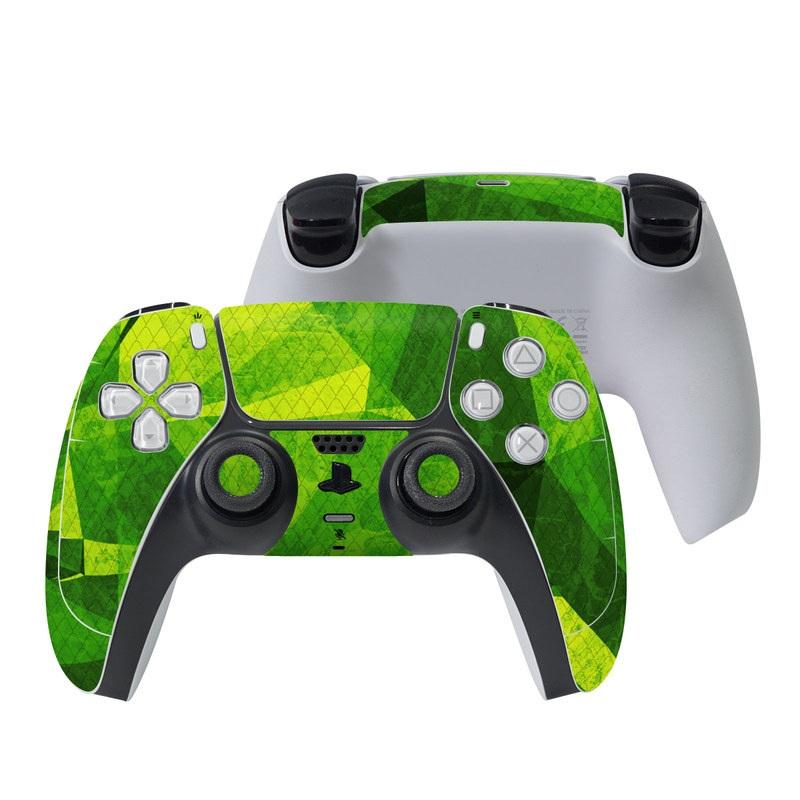 PlayStation 5 Controller Skin design of Green, Pattern, Leaf, Design, Illustration with green colors