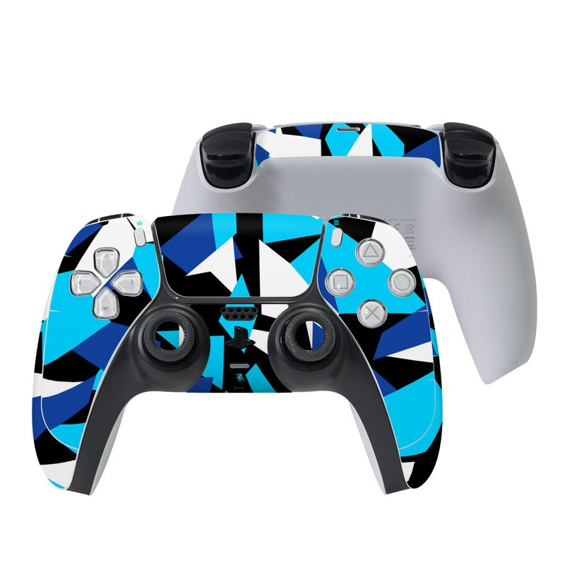 PlayStation 5 Controller Skin design of Blue, Pattern, Turquoise, Cobalt blue, Teal, Design, Electric blue, Graphic design, Triangle, Font with blue, white, black colors