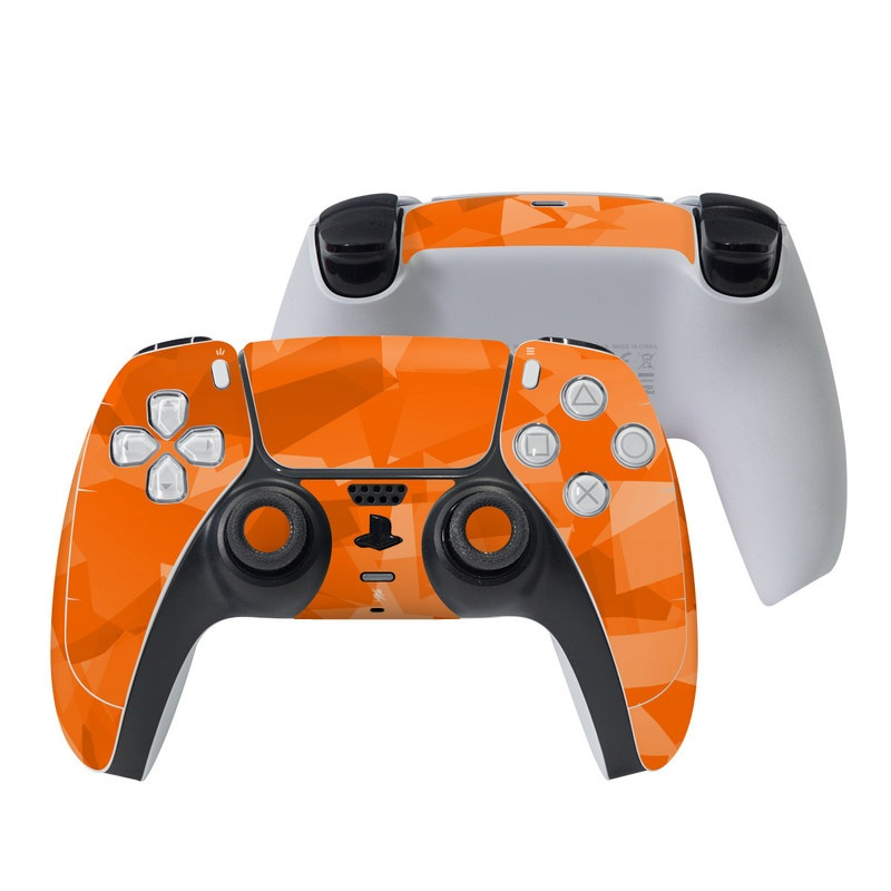 PlayStation 5 Controller Skin design of Orange, Pattern, Peach, Line, Design, Triangle with orange colors