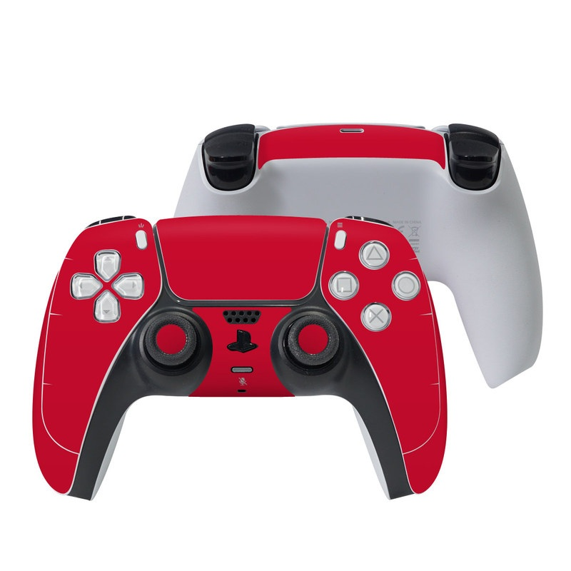 PlayStation 5 Controller Skin design of Red, Pink, Maroon, Purple, Orange, Violet, Magenta, Material property, Font, Peach with red colors