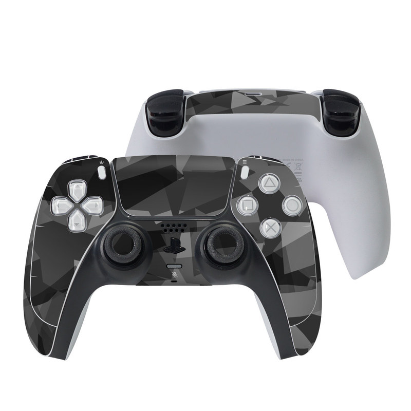 PlayStation 5 Controller Skin design of Black, Pattern, Triangle, Black-and-white, Monochrome, Grey, Design, Line, Architecture, Monochrome photography with black, gray colors
