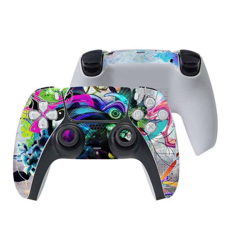 PlayStation 5 Controller Skin design of Graphic design, Psychedelic art, Art, Illustration, Purple, Visual arts, Graffiti, Street art, Design, Painting with gray, black, blue, green, purple colors