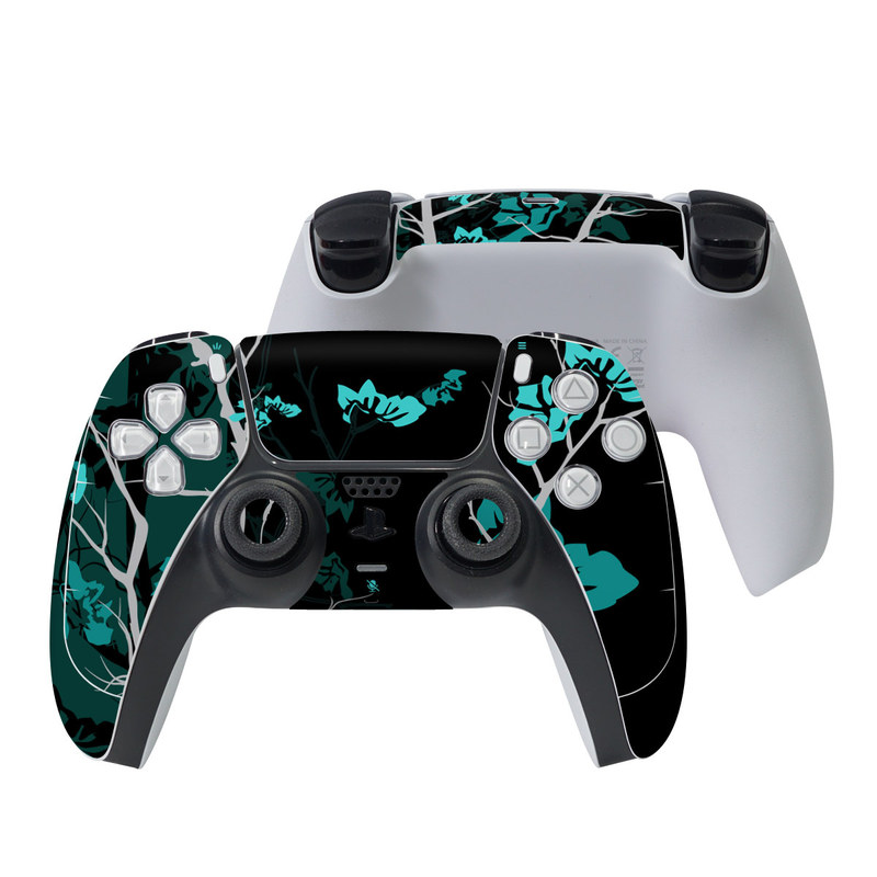 PlayStation 5 Controller Skin design of Branch, Black, Blue, Green, Turquoise, Teal, Tree, Plant, Graphic design, Twig with black, blue, gray colors