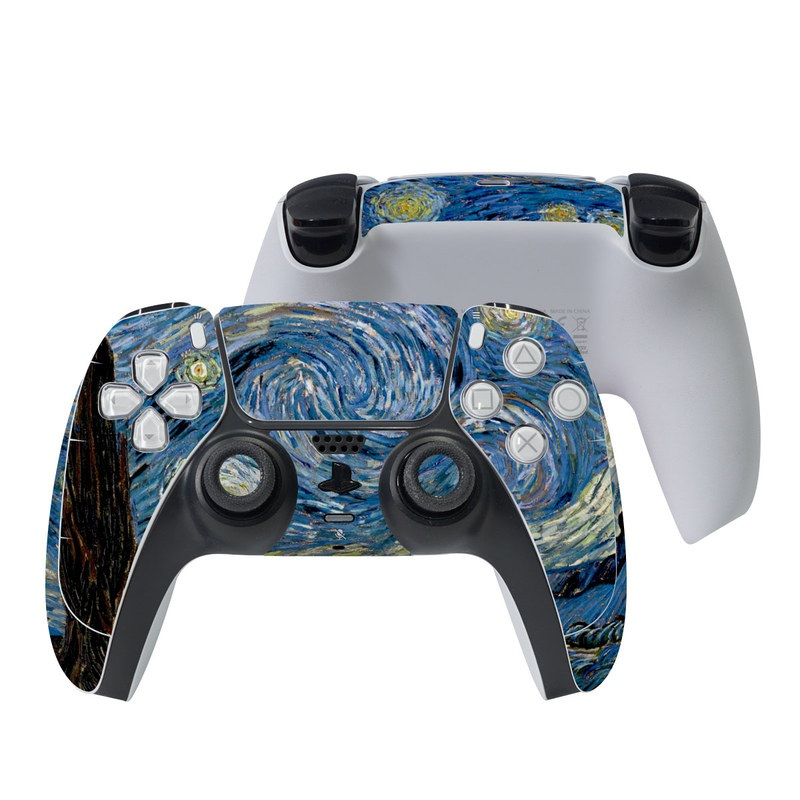 PlayStation 5 Controller Skin design of Painting, Purple, Art, Tree, Illustration, Organism, Watercolor paint, Space, Modern art, Plant with gray, black, blue, green colors