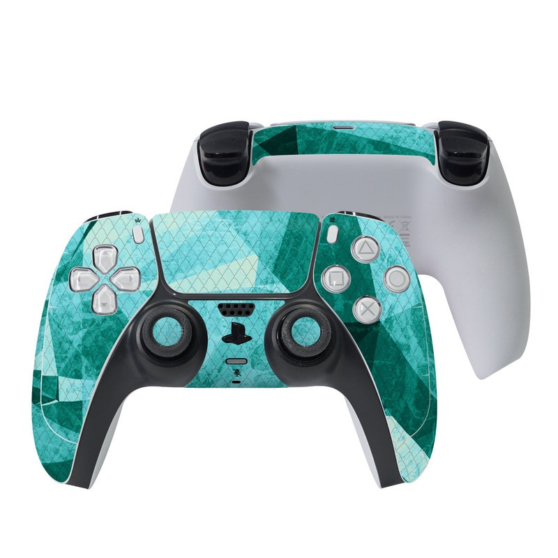 PlayStation 5 Controller Skin design of Aqua, Blue, Pattern, Turquoise, Illustration, Teal, Design, Line, Graphic design with blue colors