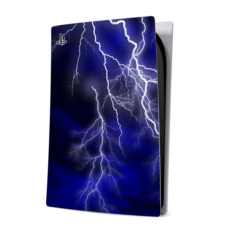 PlayStation 5 Digital Edition Skin design of Thunder, Lightning, Thunderstorm, Sky, Nature, Electric blue, Atmosphere, Daytime, Blue, Atmospheric phenomenon with blue, black, white colors