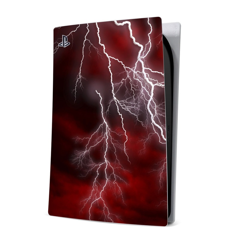 PlayStation 5 Digital Edition Skin design of Thunder, Thunderstorm, Lightning, Red, Nature, Sky, Atmosphere, Geological phenomenon, Lighting, Atmospheric phenomenon with red, black, white colors