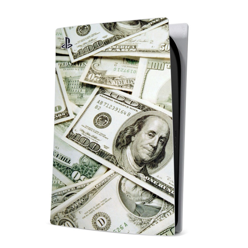 PlayStation 5 Digital Edition Skin design of Money, Cash, Currency, Banknote, Dollar, Saving, Money handling, Paper, Stock photography, Paper product with green, white, black, gray colors