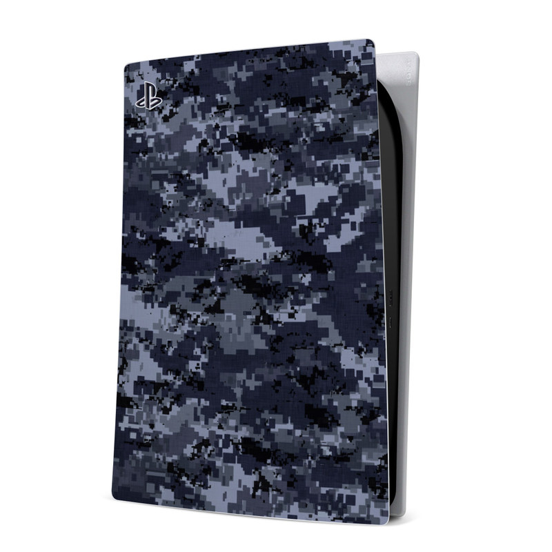 PlayStation 5 Digital Edition Skin design of Military camouflage, Black, Pattern, Blue, Camouflage, Design, Uniform, Textile, Black-and-white, Space with black, gray, blue colors