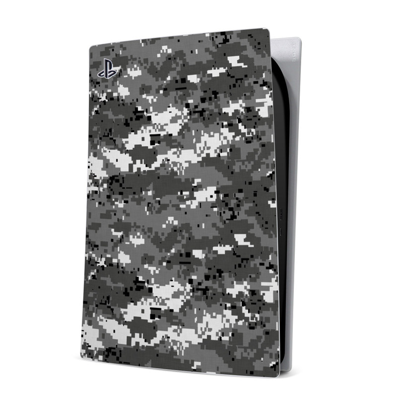 PlayStation 5 Digital Edition Skin design of Military camouflage, Pattern, Camouflage, Design, Uniform, Metal, Black-and-white with black, gray colors