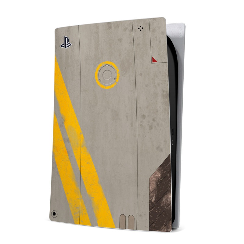 PlayStation 5 Digital Edition Skin design of Yellow, Wall, Line, Orange, Design, Concrete, Font, Architecture, Parallel, Wood with gray, yellow, red, black colors