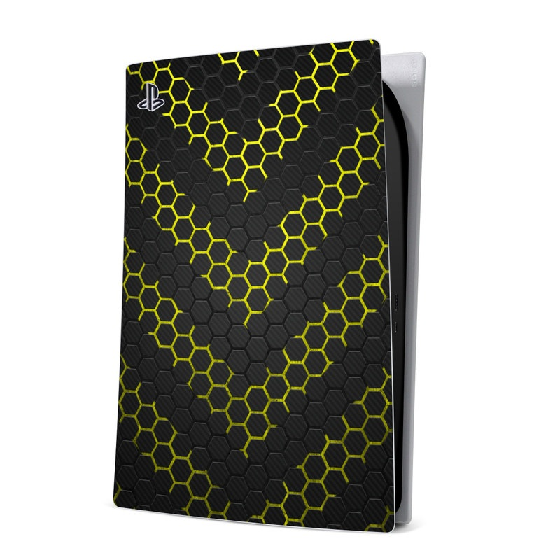 PlayStation 5 Digital Edition Skin design of Black, Pattern, Yellow, Mesh, Net, Chain-link fencing, Design, Metal with black, gray, yellow colors