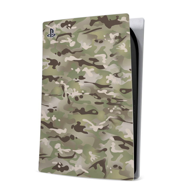 PlayStation 5 Digital Edition Skin design of Military camouflage, Camouflage, Pattern, Clothing, Uniform, Design, Military uniform, Bed sheet with gray, green, black, red colors